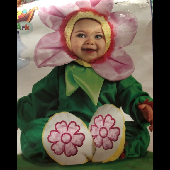 Infant Girls Flower Costume Pink Pansy Baby Jumpsuit Headpiece /& Booties